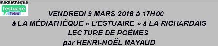 9 mars 2018 à La Richardais – Printemps des Poètes