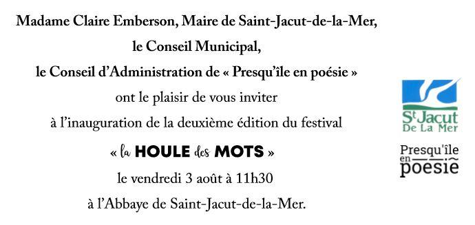 Invitation Inauguration La Houle des Mots 2e édition