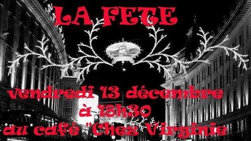 La Fête, thème de l'apéro-poétique du 13 décembre 2019 au café «chez Virgine»