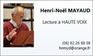 les rendez-vous d'Henri-Noël Mayaud sur la toile : lecture à haute voix . Lundi 17 mai  à 18 H 00